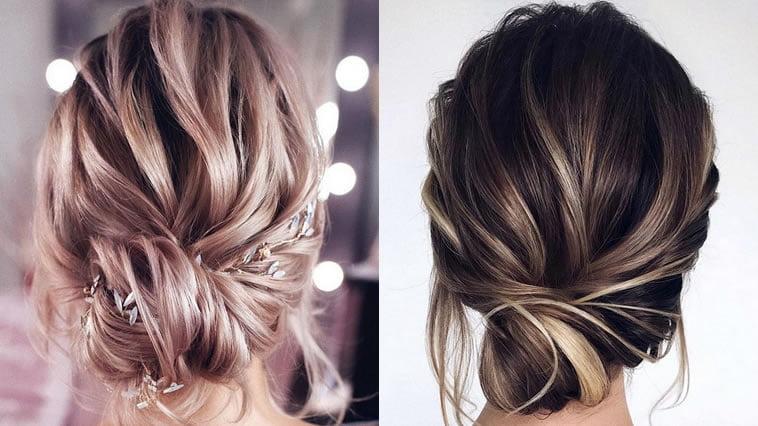 Low bun updo wedding hairstyle 2019