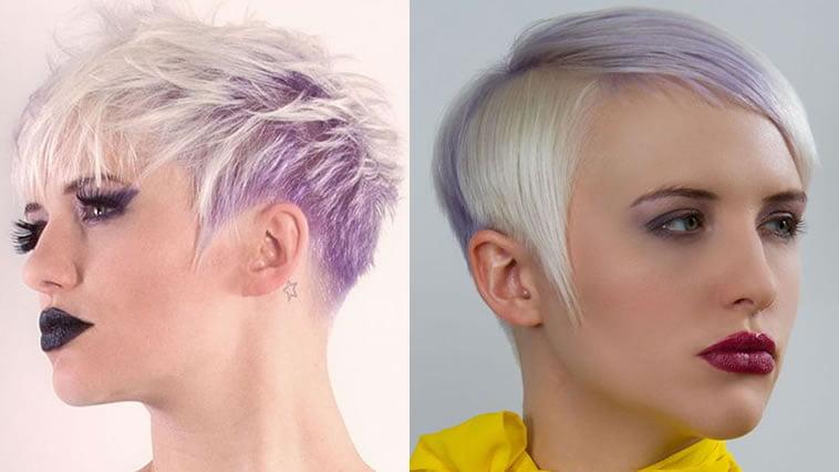 purple hairstyles for undercut short hair