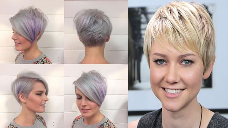 Platinum side swept short hair