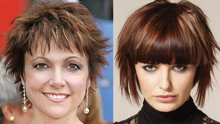 Asymmetrical hair cut brown balayage