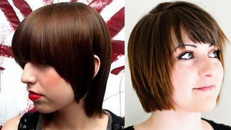 Short asymmetrical haircut with bangs