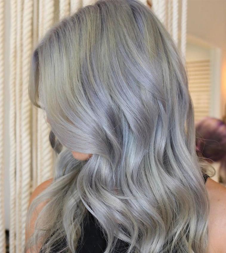 Gray balayage brunette hair