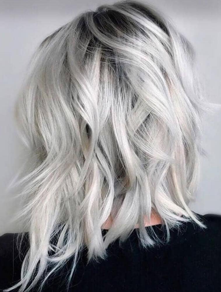 Light ash blonde platinum hair