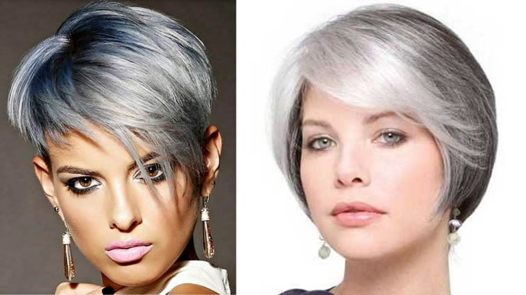Asymmetrical grey hair color 2019