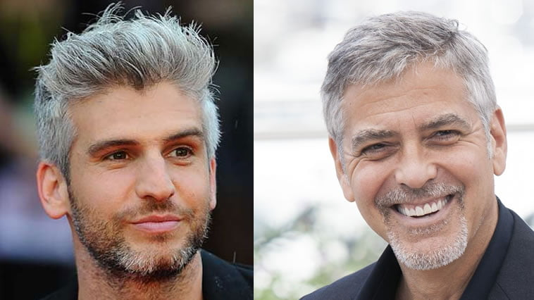 short hairstyle for men with grey hair color 2019