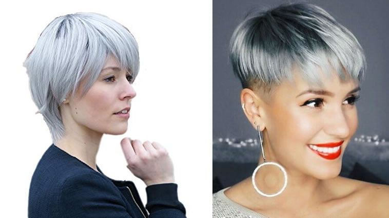Gray balayage undercut short hair
