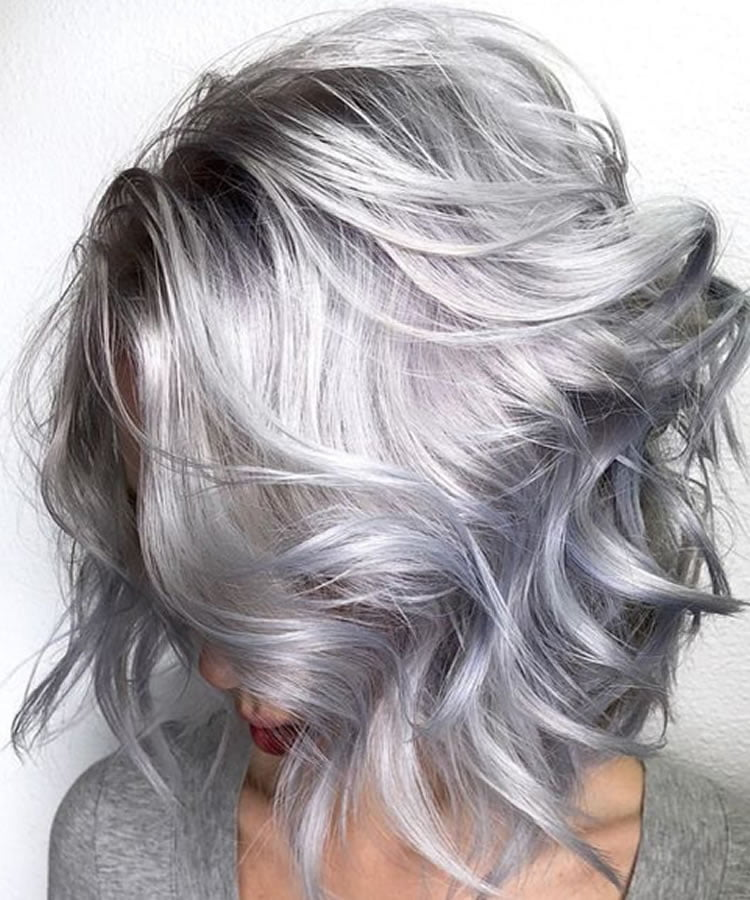 Grey hair color wavy bob hairstyle over 60