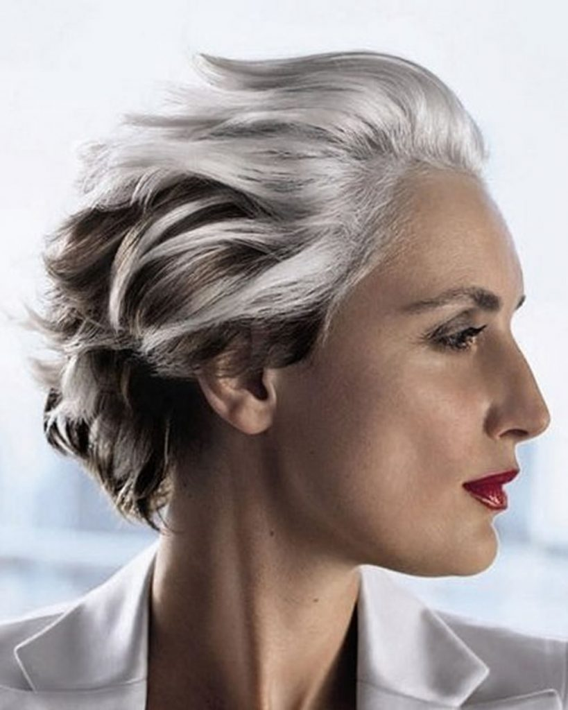 Grey short hairstyles for older women over 50