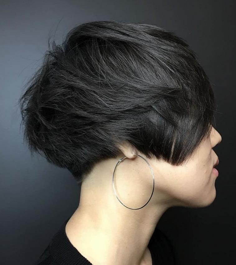 Stylish short haircut for dark hair 2020