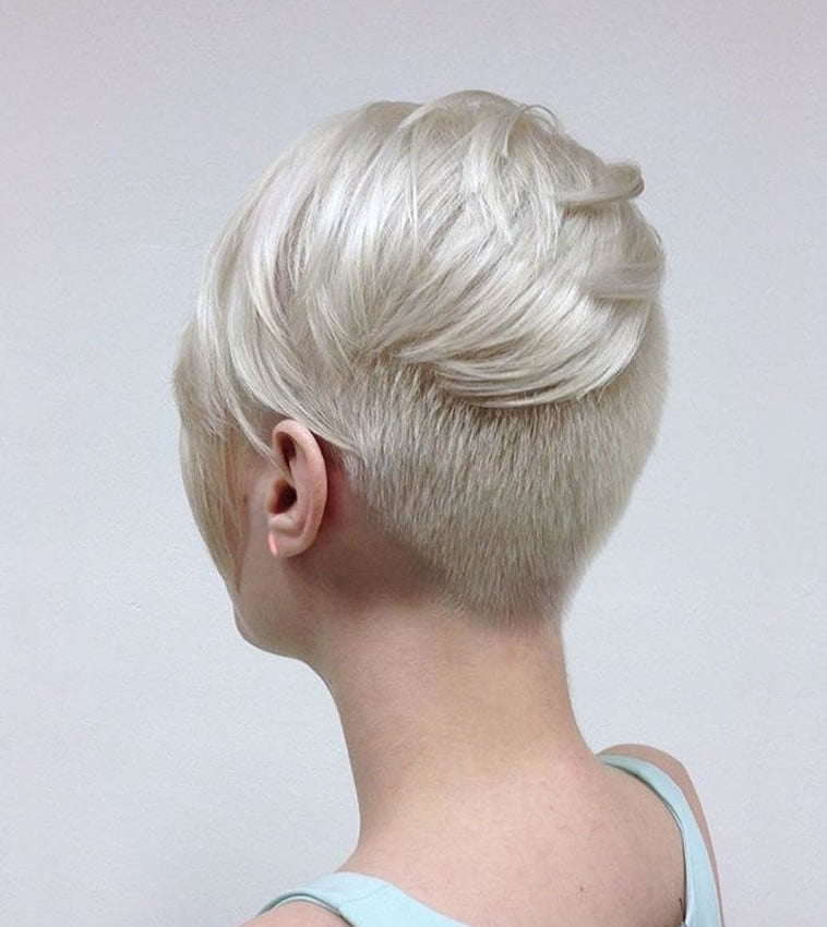 Undercut short hairstyle blonde hair color 2019-2020