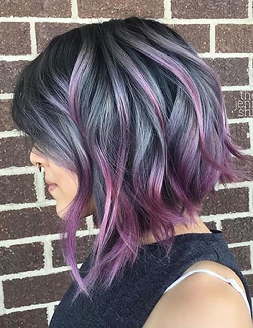 Angled short haircut purple balayage hair color 2019-2020