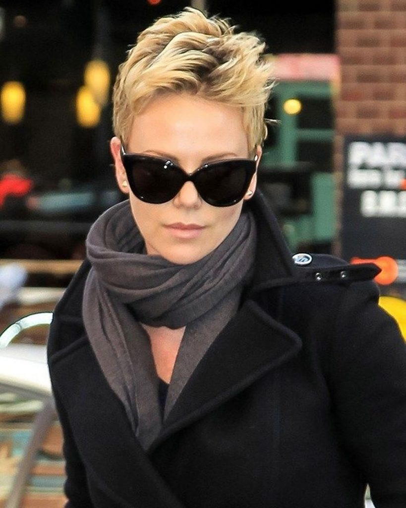 Charlize Theron's short pixie, bob and ultra short hair styles 2019-2020