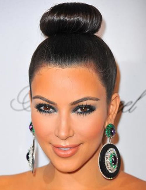 Cool high bun hairstyle - Kim Kardashian Hairstyles