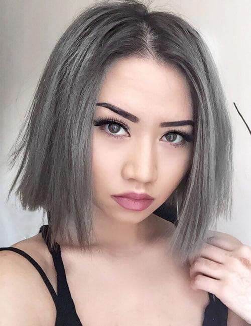 Gray hair color short bob haircut 2019-2020