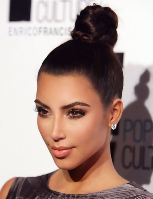 High bun hairstyles - 2019 Kim Kardashian Hair idea