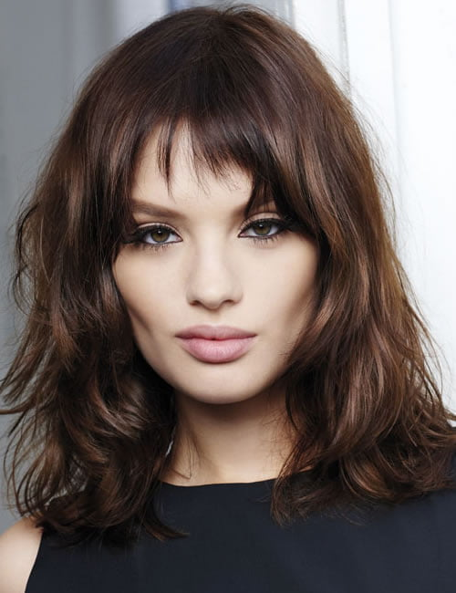 Highlight brown hair color long bob style 2019-2020