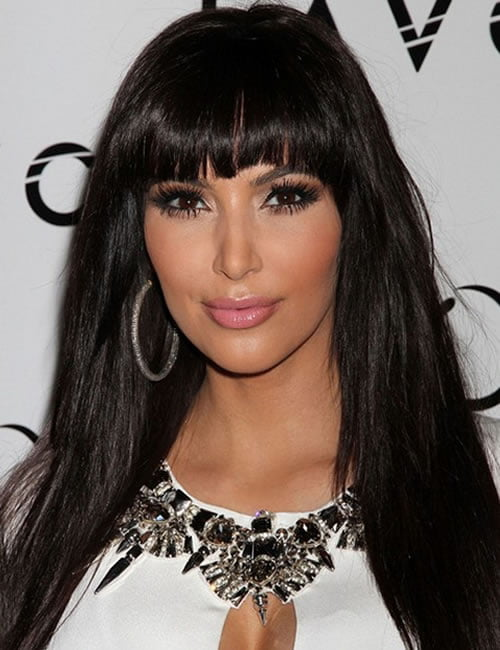 Kim Kardashian Long Hairstyles with Bangs