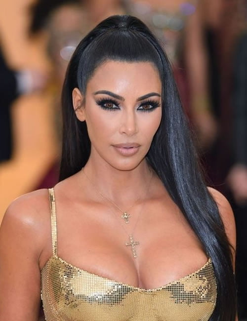 Kim Kardashian black hair style 2019-2020