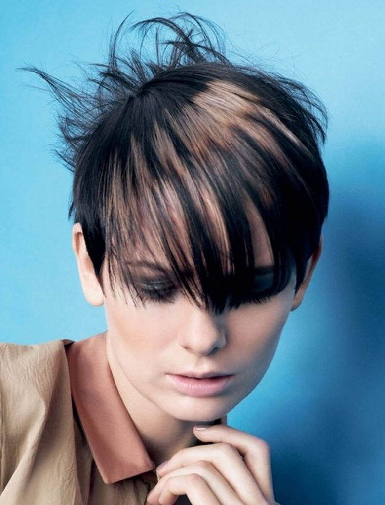 Black to brown balayage short layered hairstyle