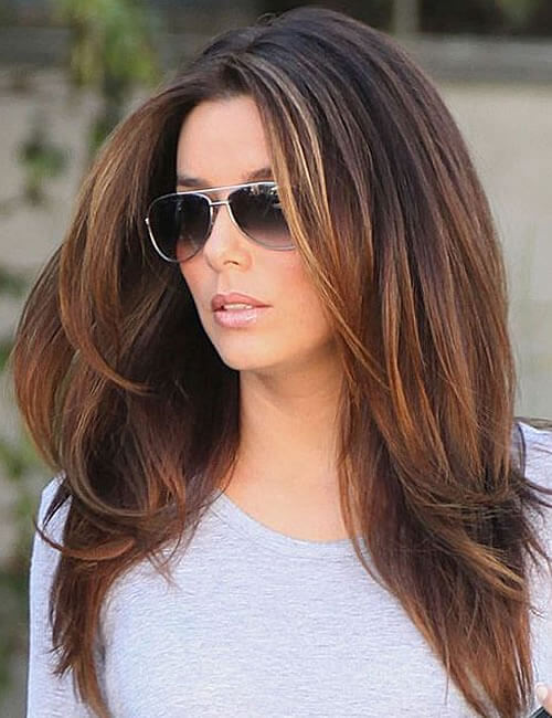 Brown balayage hair style for women with long hair