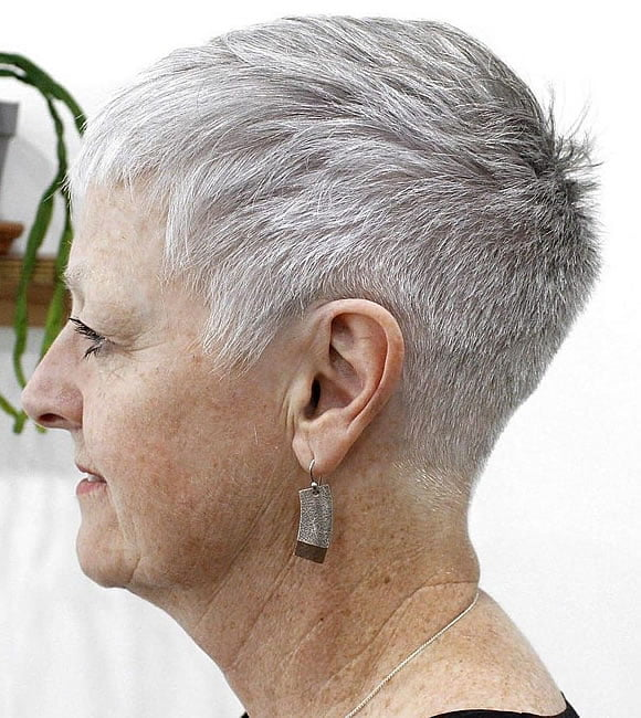 Gray pixie haircut for older women over 60