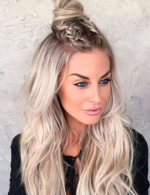 Two braids bun hairstyle long hair