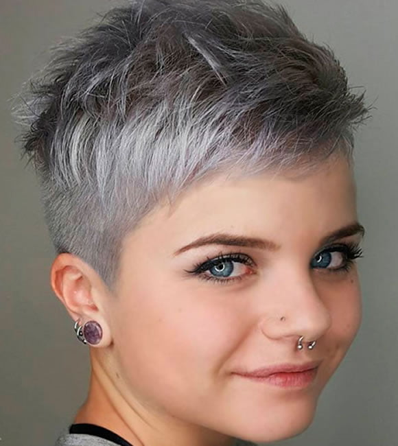 Very chic short pixie haircut gray hair color 2020