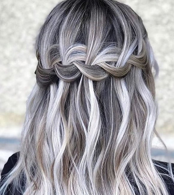 Waterfall gray hairstyle for medium length hair style 2020