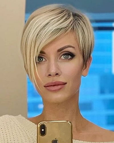 Side long pixie hair style layered hair 2020