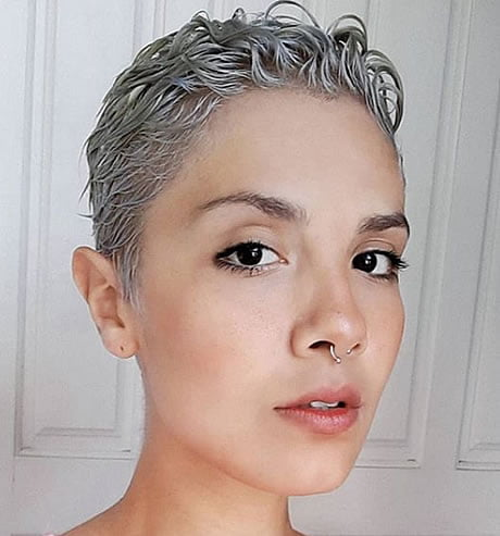 Very short gray pixie style for summer 2020-2021